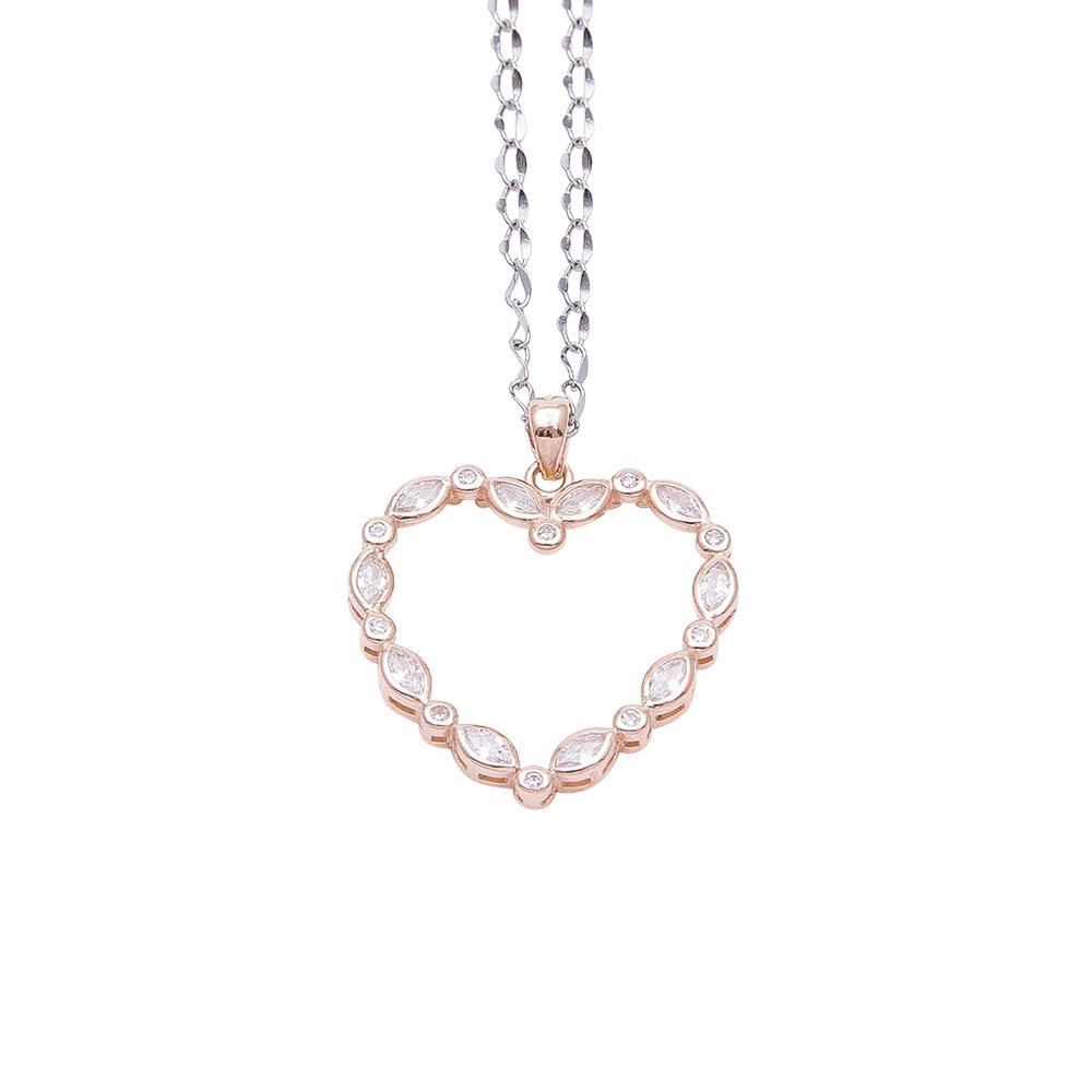 Margaret ciondolo in argento 925‰ rosato e zirconi con catenina in acciaio inalterabile P08587PP 4 You Jewels