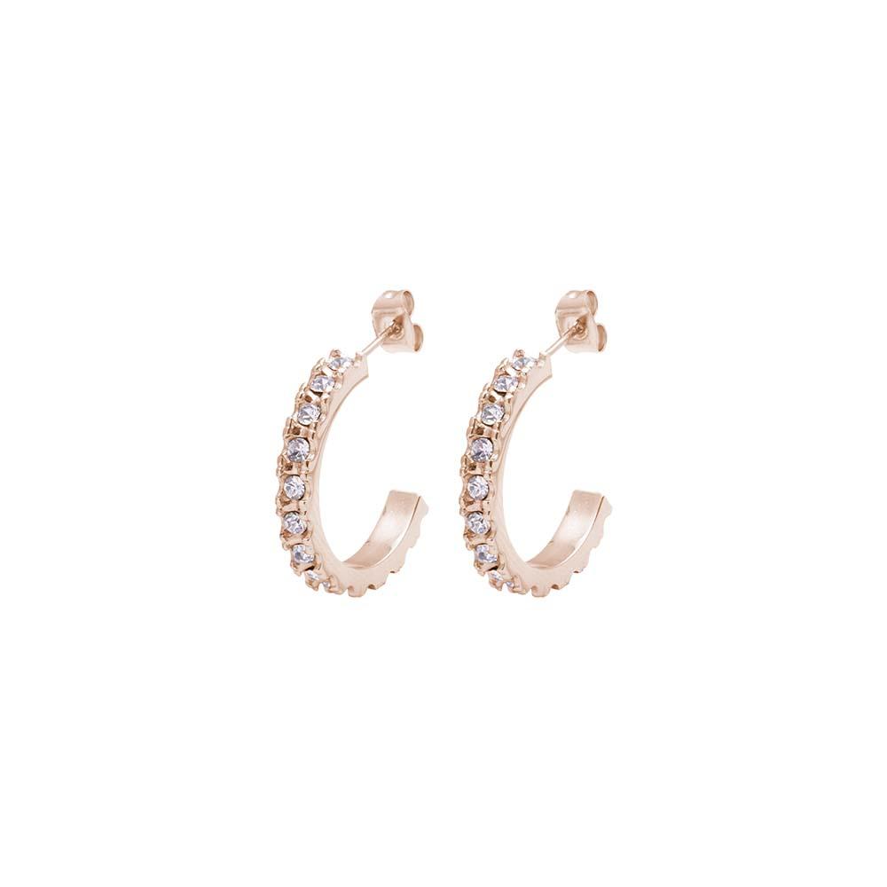 Aura orecchini in acciaio e cristalli con IP rosa E16075 For You Jewels