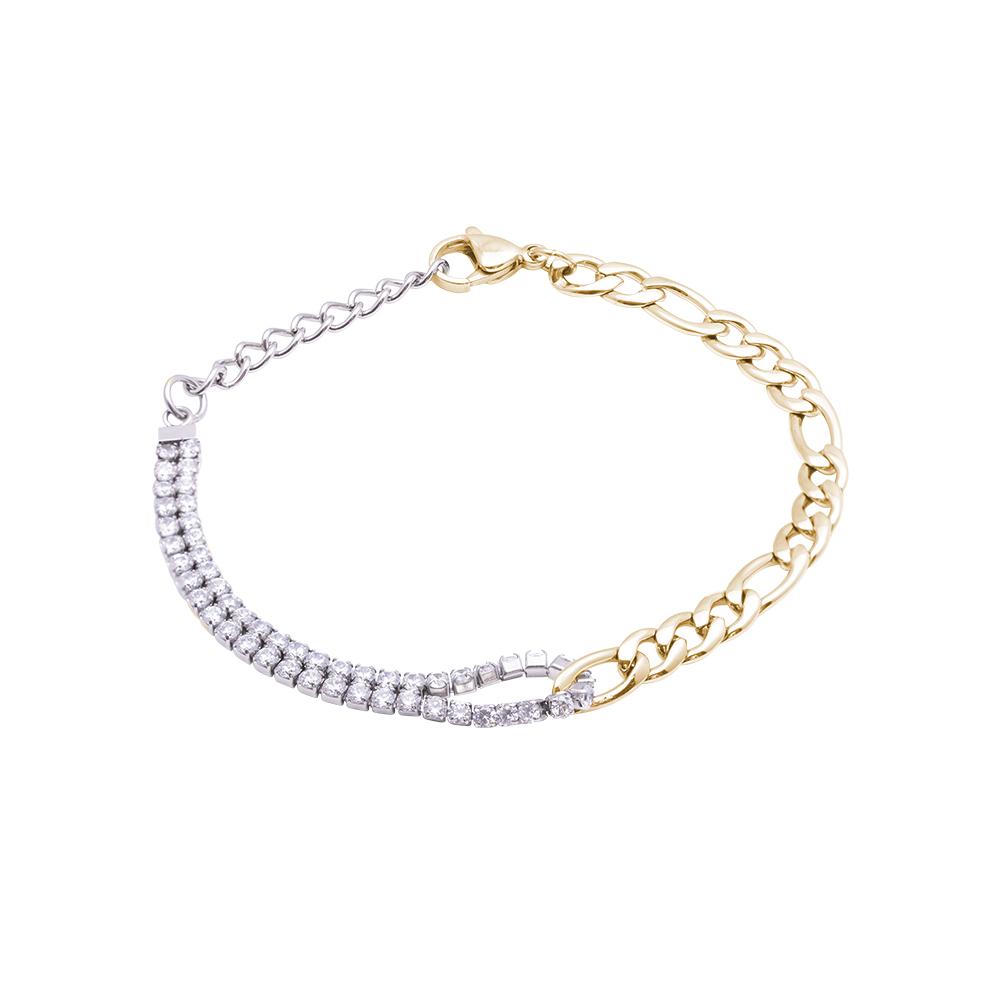 Bindy bracciale in acciaio e cristalli con IP oro B16071 For You Jewels