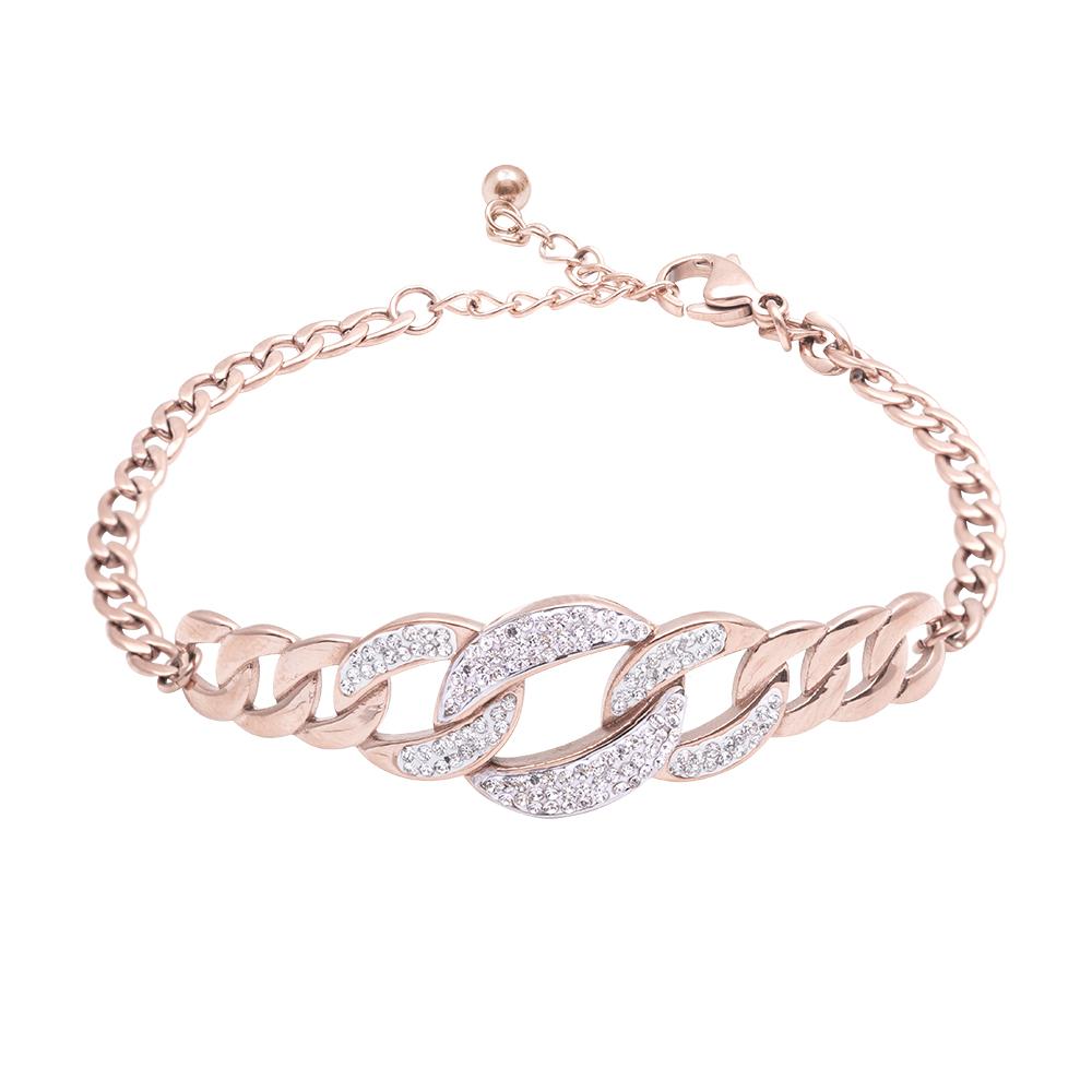 Claudine bracciale in acciaio e cristalli con IP rosa B16067 For You Jewels