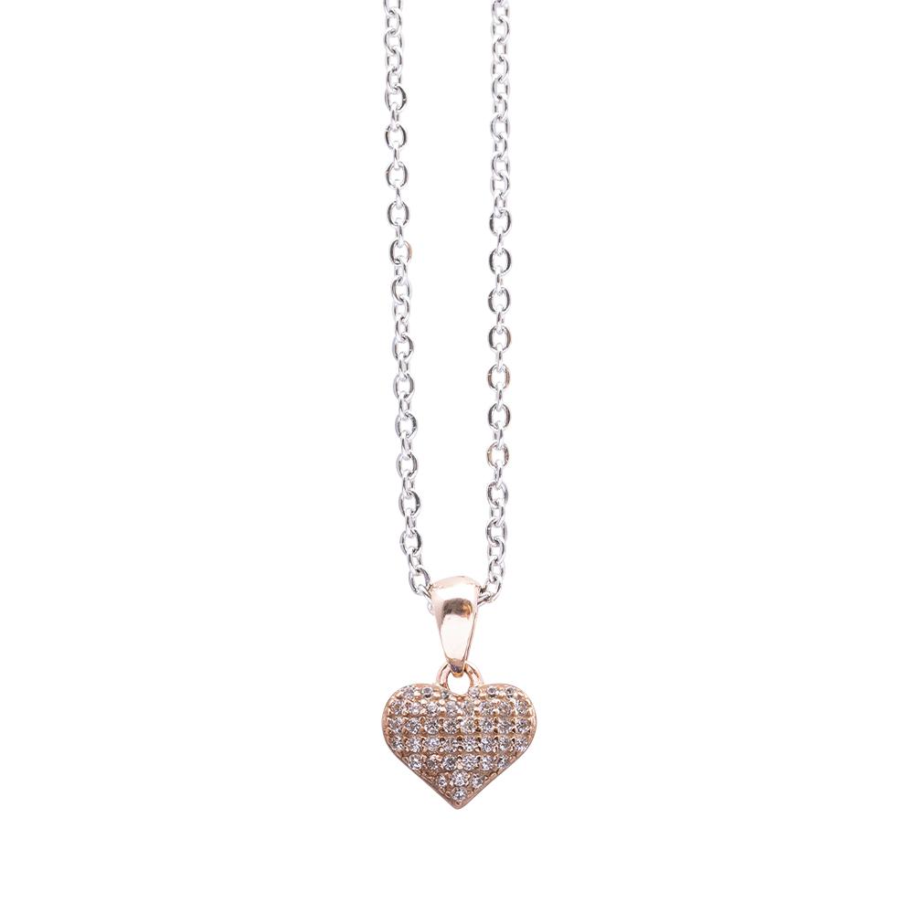 Cleo ciondolo in argento 925‰ rosato e zirconi con catenina in acciaio inalterabile P06519PP For You Jewels