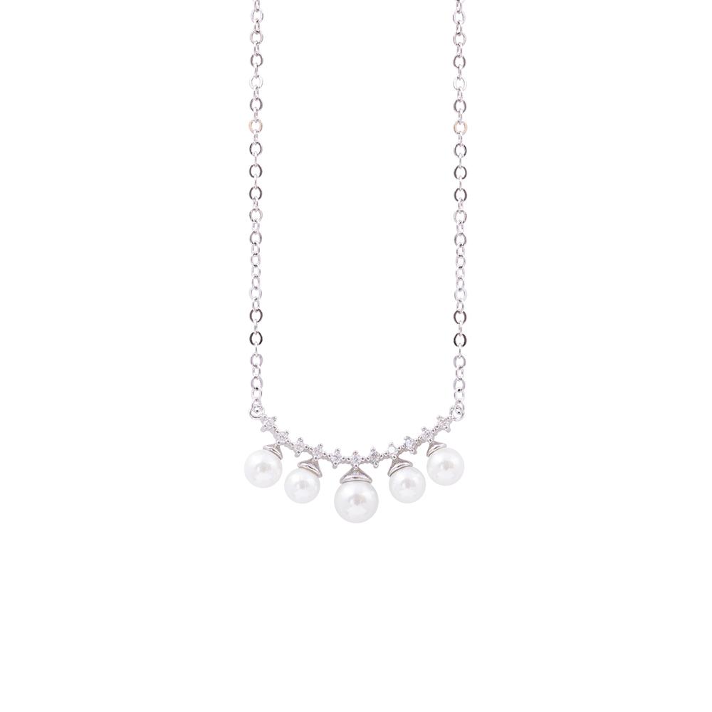 Diletta collana in ottone rodiato con zirconi e shell pearls N07583 For You Jewels