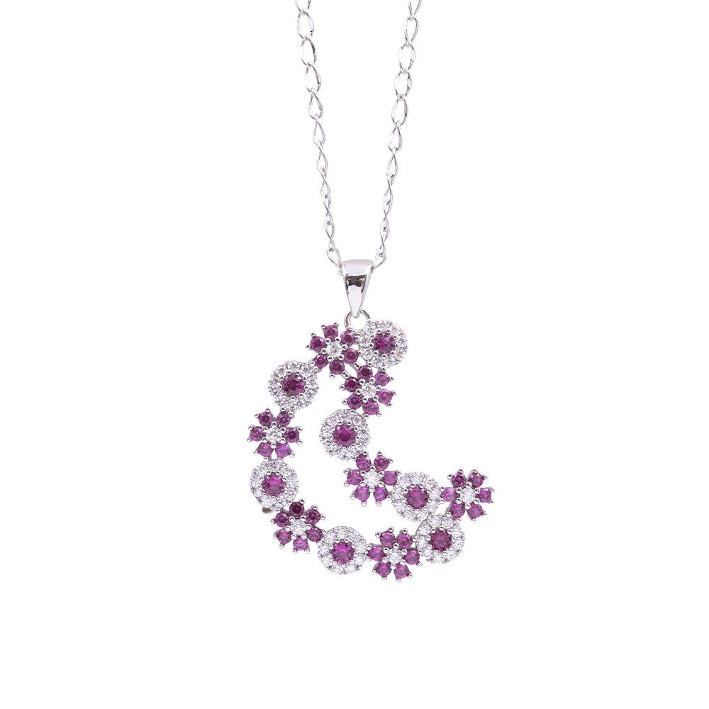 Flowers Fantasy ciondolo in ottone rodiato e zirconi con catenina in acciaio inalterabile P15958 For You Jewels