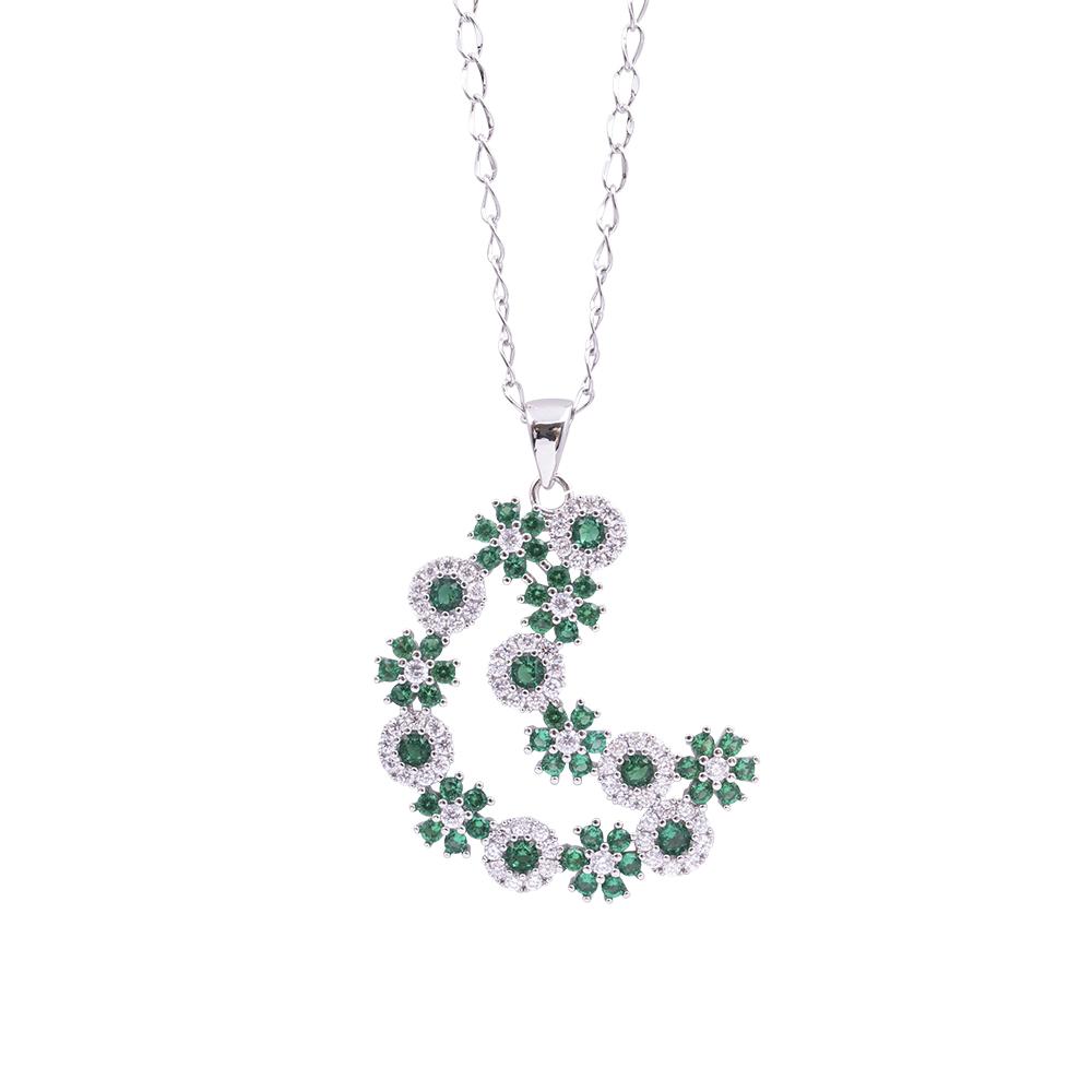 Flowers Fantasy ciondolo in ottone rodiato e zirconi con catenina in acciaio inalterabile P15959 For You Jewels