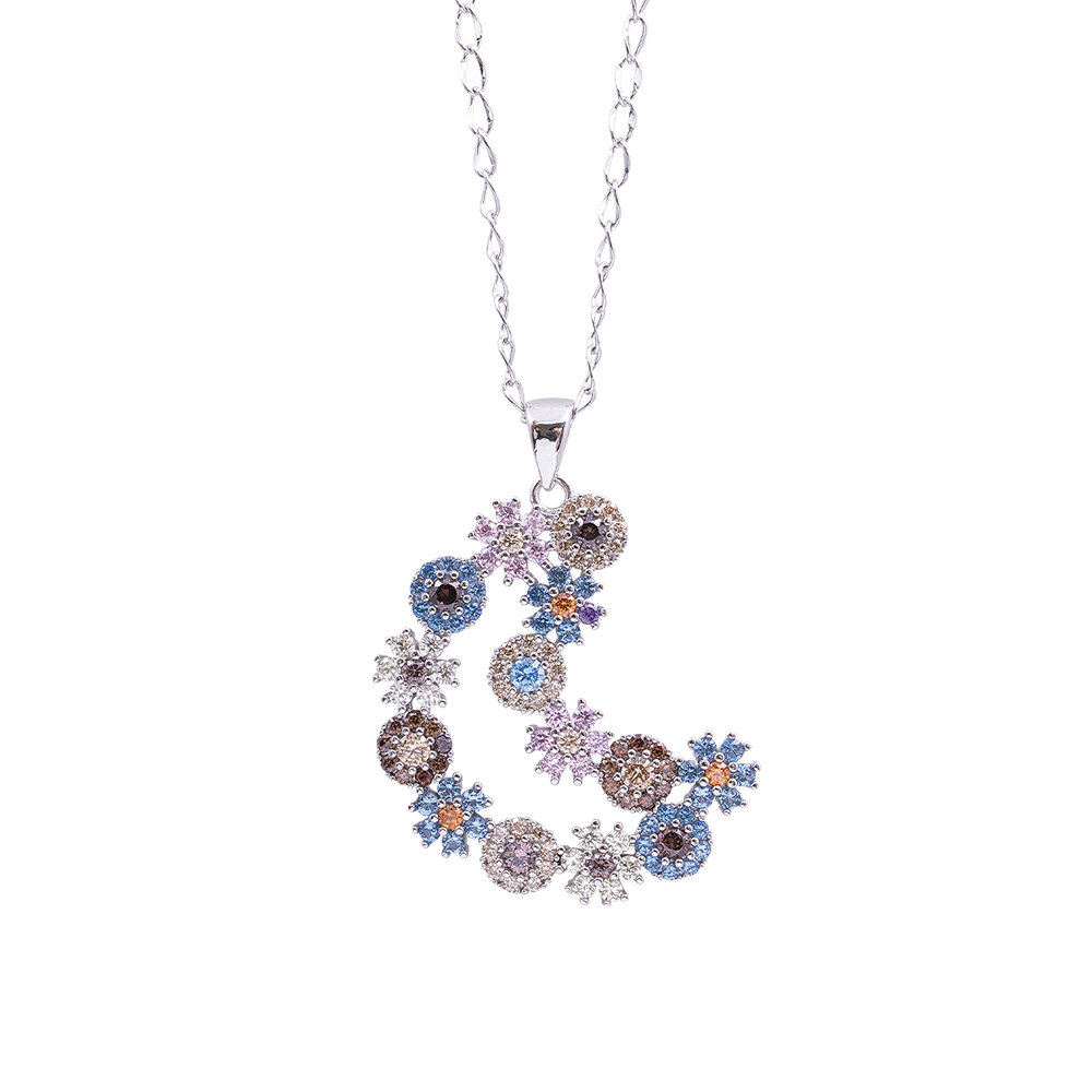 Flowers Fantasy ciondolo in ottone rodiato e zirconi con catenina in acciaio inalterabile P15964 For You Jewels