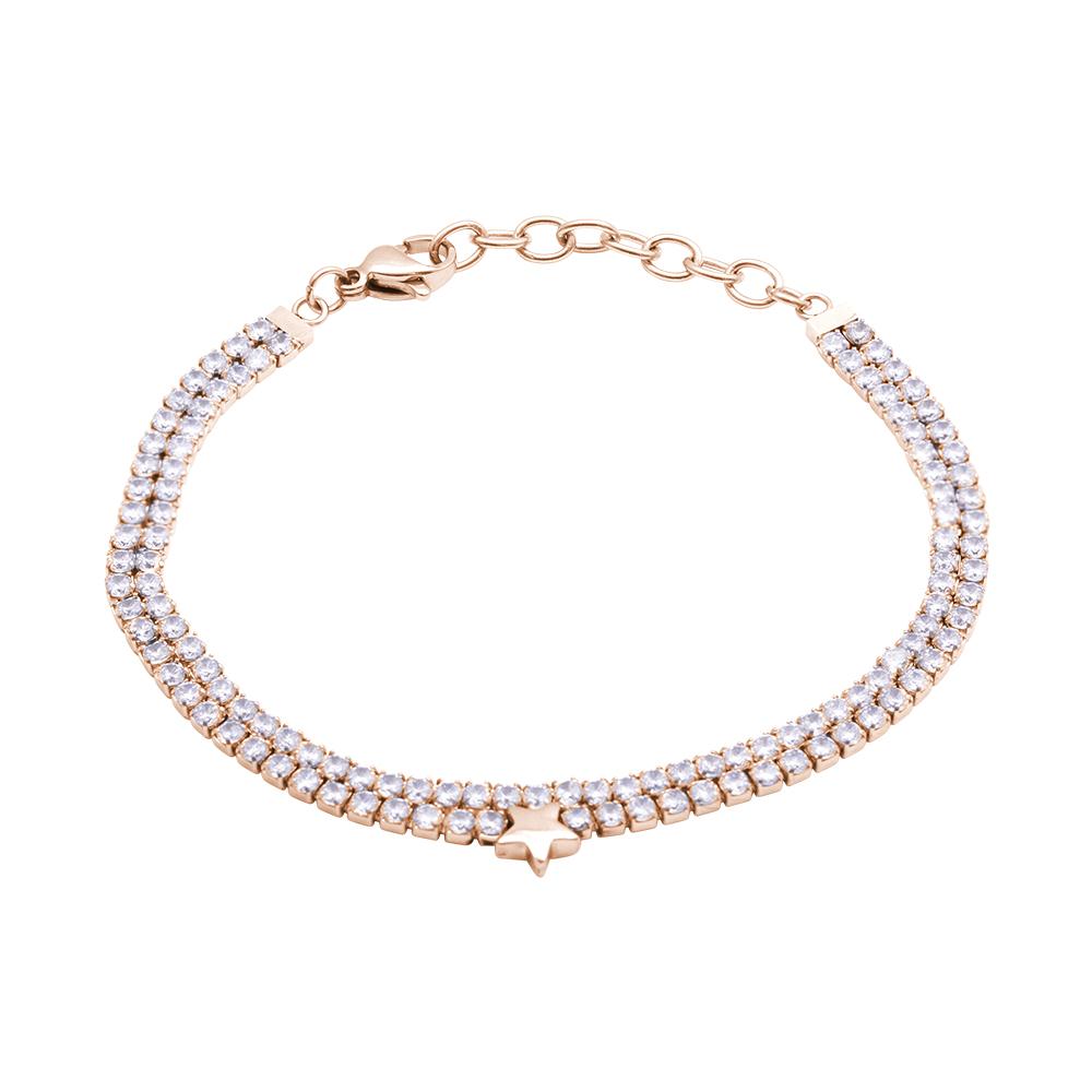 Jilly bracciale in acciaio e cristalli con IP rosa B16099 For You Jewels