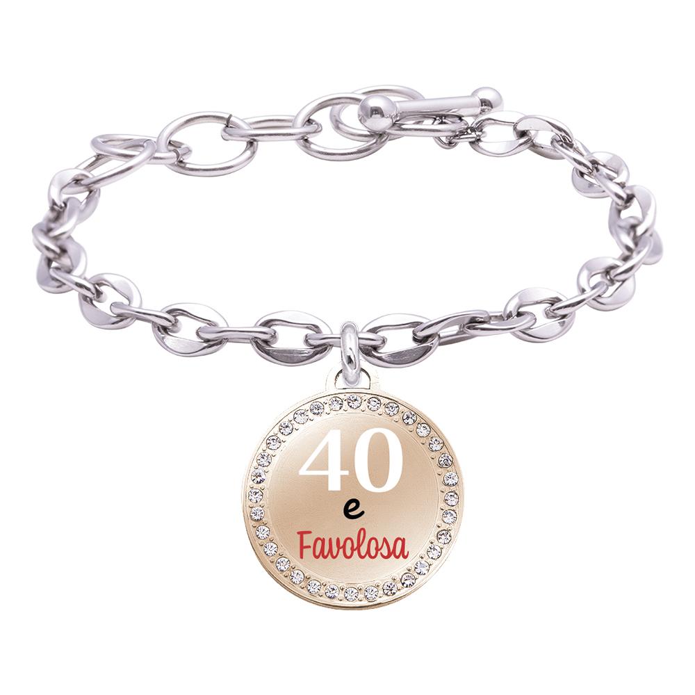Life is Momenti bracciale in acciaio e medaglietta in acciaio e cristalli con incisione in smalto 40 e Favolosa B16026 For You Jewels