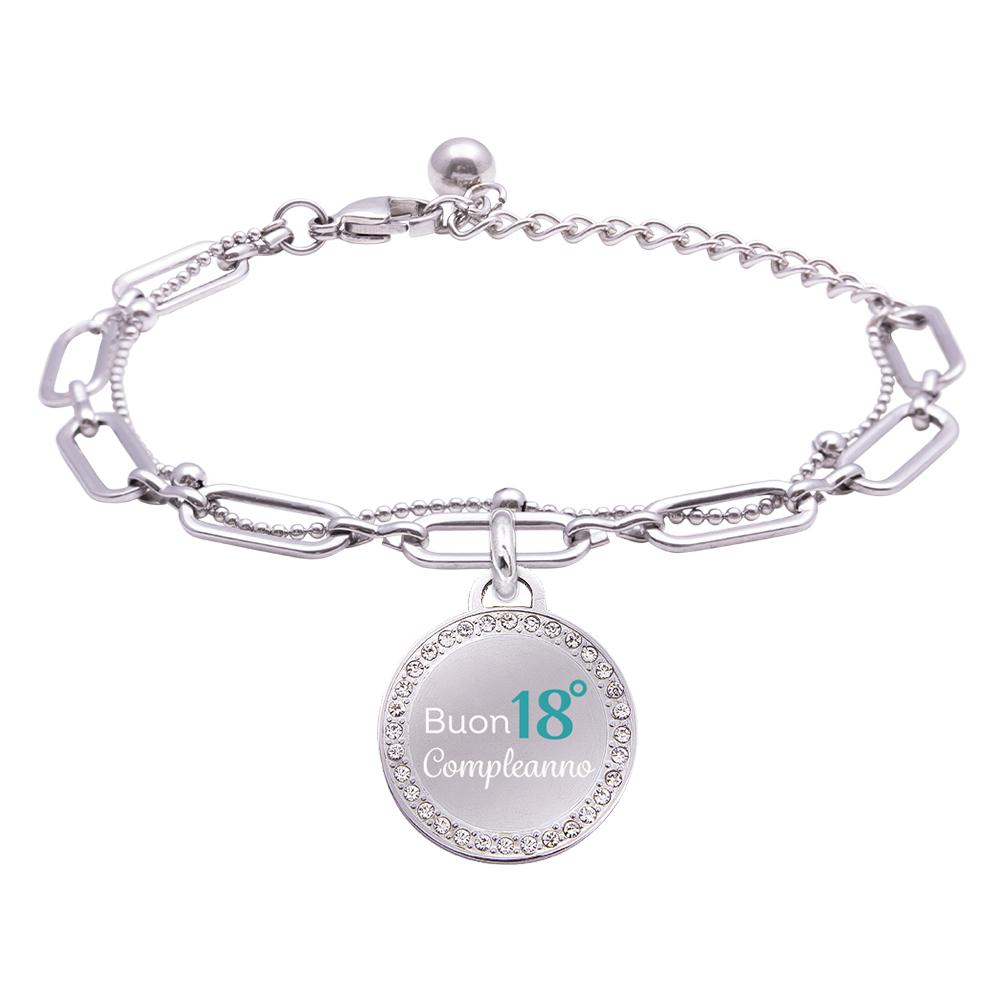 Life is Momenti bracciale in acciaio e medaglietta in acciaio e cristalli con incisione in smalto Buon 18° compleanno B16032 For You Jewels