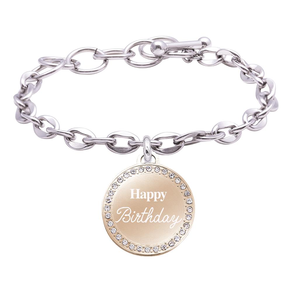 Life is Momenti bracciale in acciaio e medaglietta in acciaio e cristalli con incisione in smalto Happy Birthday B16028 For You Jewels