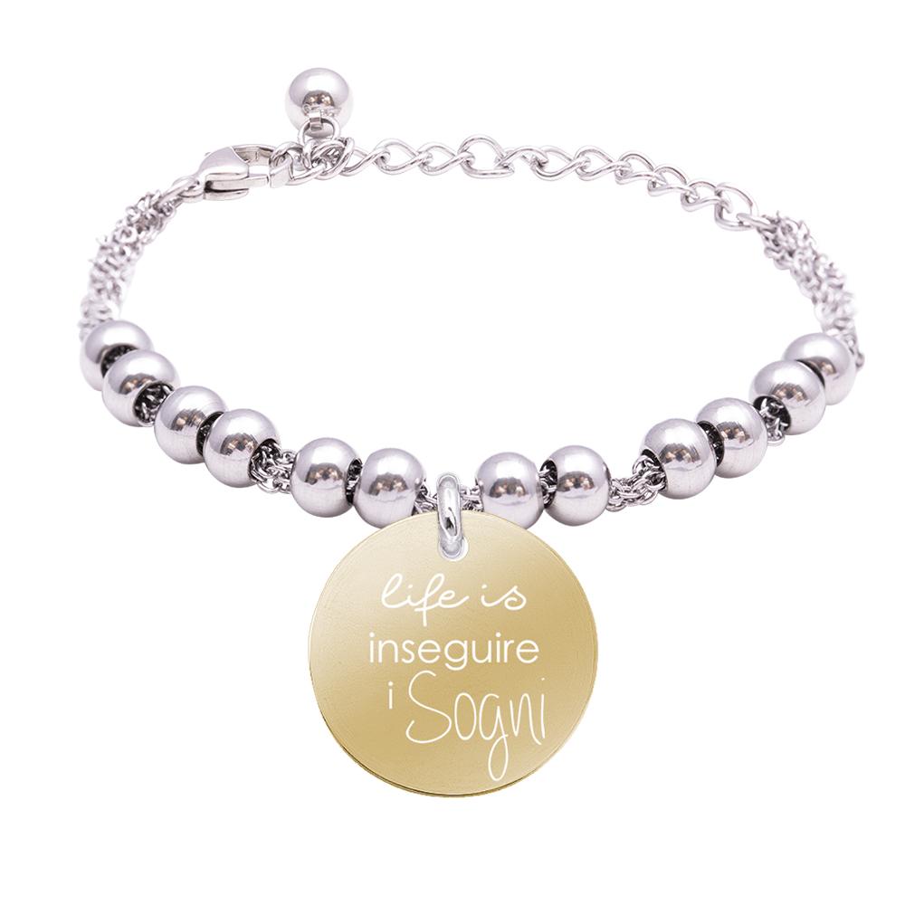 Life is Momenti bracciale in acciaio e medaglietta in acciaio e cristalli con incisione in smalto Inseguire i Sogni B16057 For You Jewels