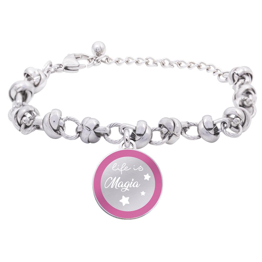 Life is Momenti bracciale in acciaio e medaglietta in acciaio e cristalli con incisione in smalto Magia B16055 For You Jewels