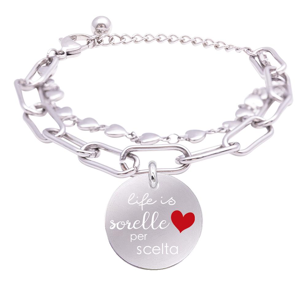 Life is Momenti bracciale in acciaio e medaglietta in acciaio e cristalli con incisione in smalto Sorelle per scelta B16047 For You Jewels