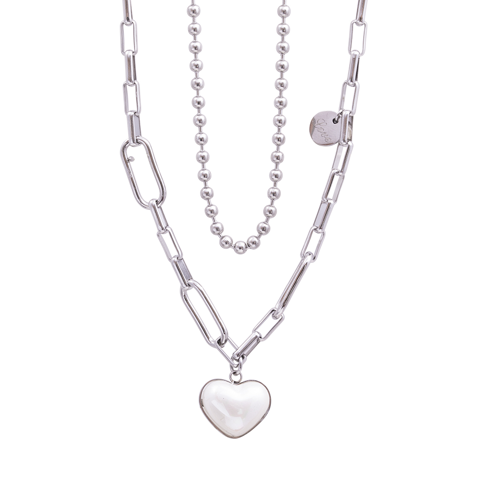 Marla collana in acciaio e perle N16107 For You Jewels