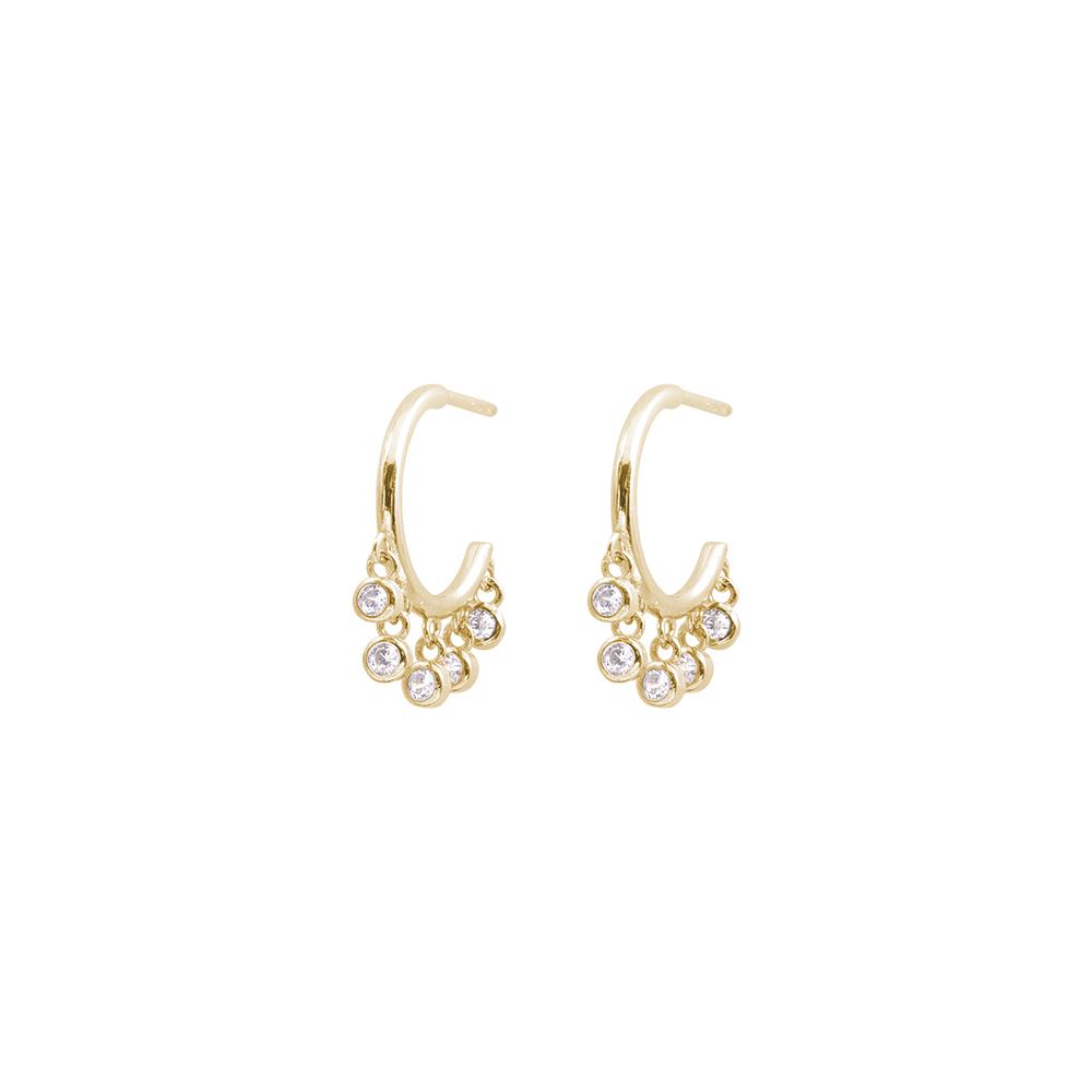 Tecla orecchini in ottone dorato e zirconi E15460GP For You Jewels