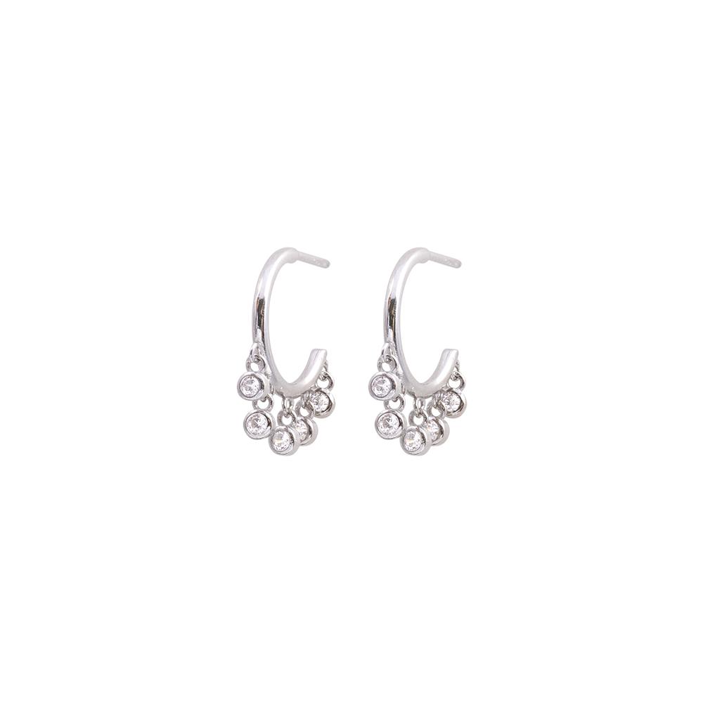 Tecla orecchini in ottone rodiato e zirconi E15460 For You Jewels