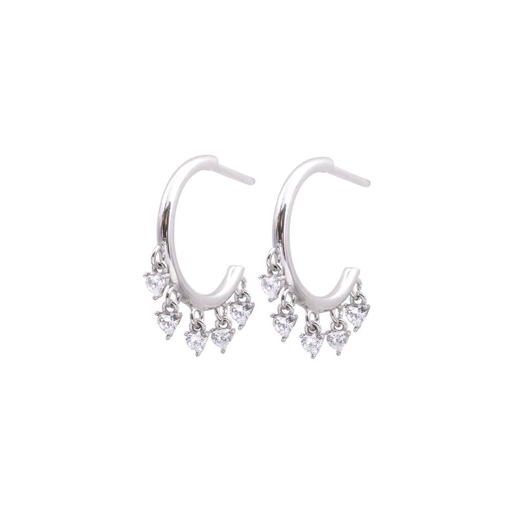 Tecla orecchini in ottone rodiato e zirconi E15465 For You Jewels