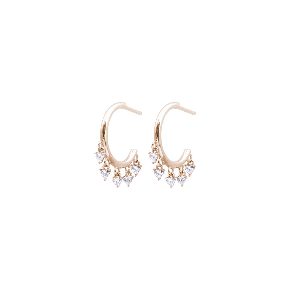 Tecla orecchini in ottone rosato e zirconi E15462PP For You Jewels